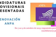 Renovación ANPA: Candidaturas Provisionais