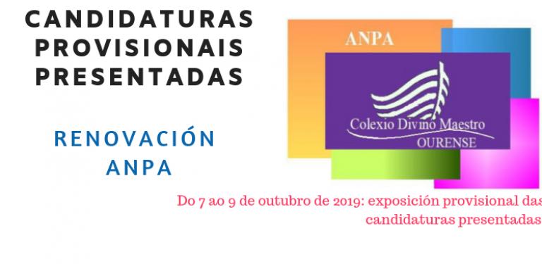 ANPA 2019 CANDIDATURAS PROVISIONAIS PRESENTADAS
